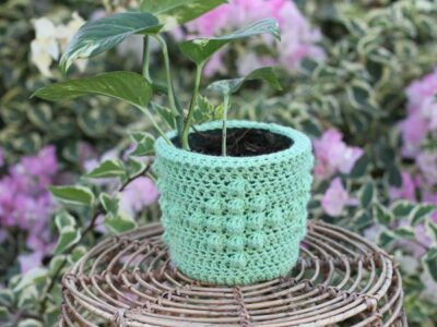 crochet DIAMOND PLANT COZY free pattern