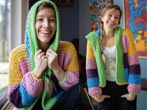 crochet DOBBYS HOODED CARDIGAN free pattern