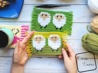 crochet Dancing Sheep Mug Rug free pattern