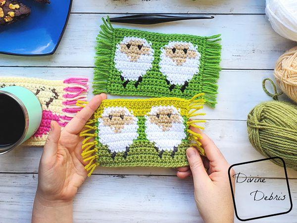 crochet Dancing Sheep Mug Rug free pattern