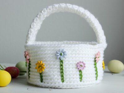 crochet Flower Easter Basket free pattern
