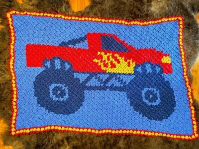 crochet Monster Truck C2C Blanket free pattern
