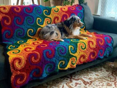 crochet Rainbow Galaxy Blanket easy pattern