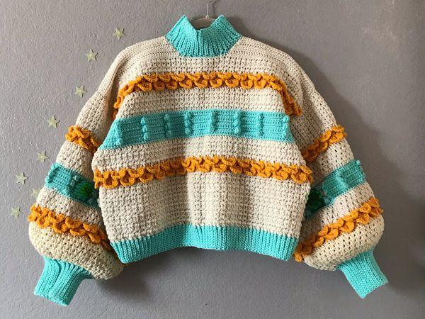 crochet Tea Oversized Puff Sleeve easy pattern