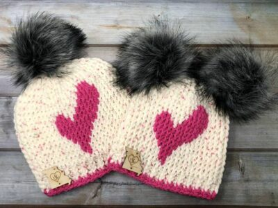 crochet Wonky Heart Beanie easy pattern