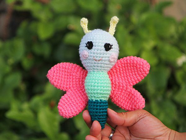 crochet Bella the Butterfly Rattle free pattern