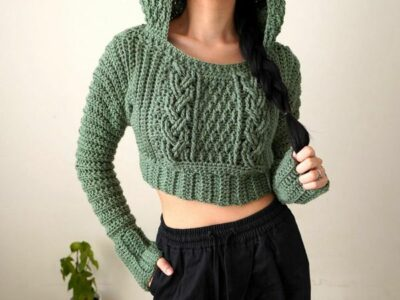 Cable Stitch Cropped Hoodie