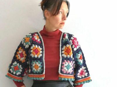 crochet Cropped Granny Jacket easy pattern