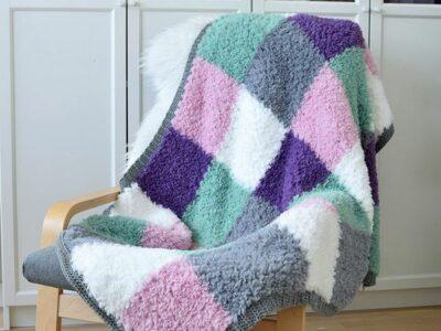 crochet Furry Squares Blanket free pattern