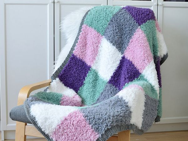 crochet Furry Squares Blanket free pattern