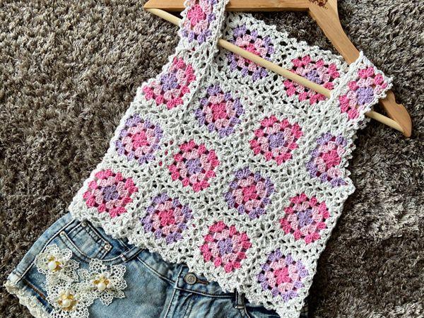 crochet Granny Squares Summer Top free pattern