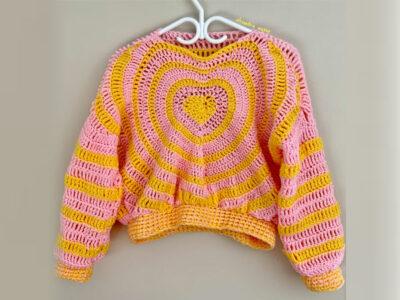 crochet Heart Sweater free pattern