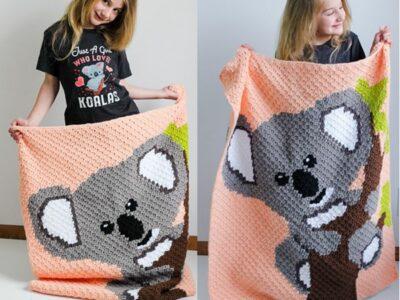 crochet Koala C2C Blanket free pattern