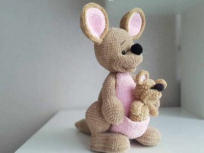 crochet Mother and Baby Kangaroo easy pattern