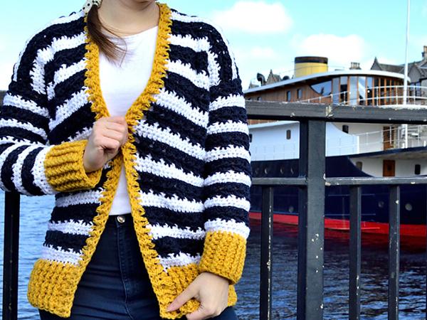 crochet Nautical Cardigan free pattern