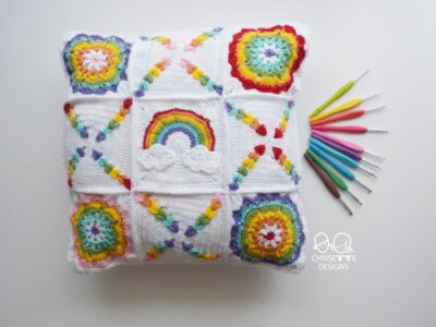 crochet Rainbow Granny Square Pillow free pattern