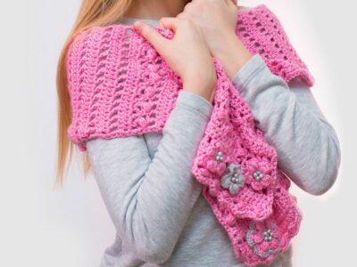 crochet Spring Blossom Scarf free pattern