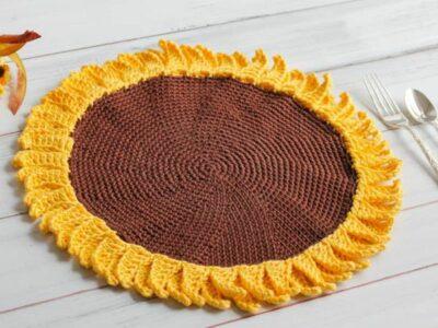 crochet Sunflower Placemat free pattern