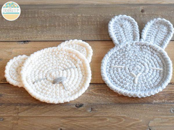 crochet The Sleepy Bunny and Bear Coasters free pattern
