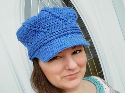 crochet Twisted Newsboy Hat free pattern