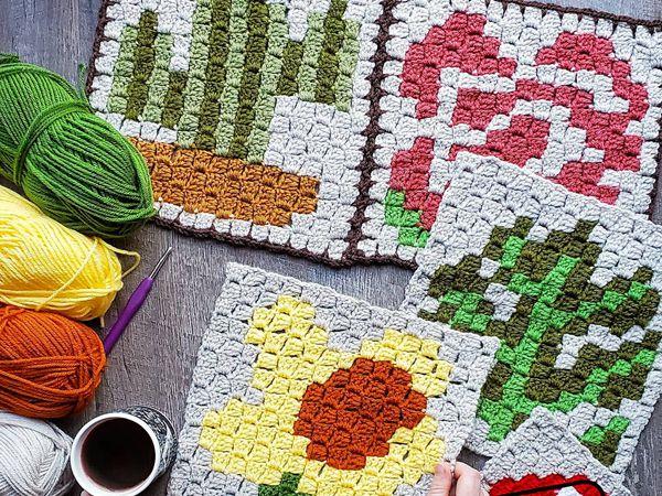 crochet C2C Daffodil Afghan Square free pattern