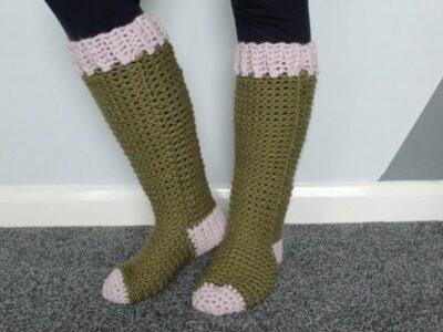 crochet CHUNKY SLIPPER SOCKS free pattern
