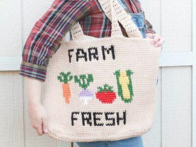 crochet Farm Fresh Market Bag free pattern