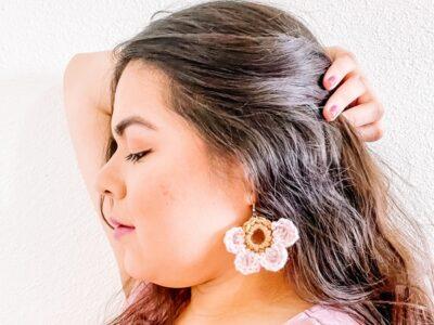 crochet Flower Earrings free pattern