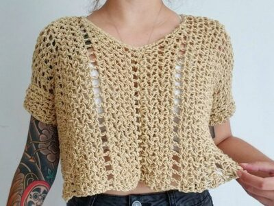 crochet Flowy Autumn Box Tee easy pattern