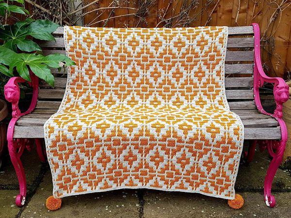 crochet Fools Gold Mosaic Throw easy pattern