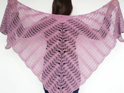 crochet LACE FAN SHAWL free pattern