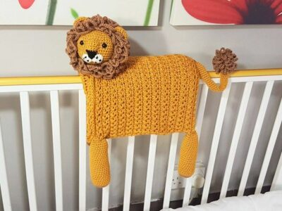 crochet Safari Lion Folding Baby Blanket easy pattern