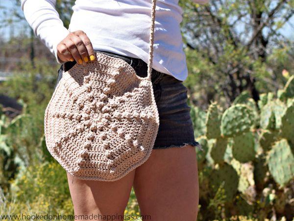 crochet Sand Dollar Circle Bag free pattern