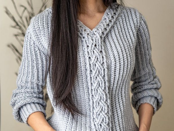 CROCHET Cable Stitch Sweater easy pattern