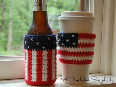 crochet AMERICAN COZY AND COFFEE SLEEVE free pattern