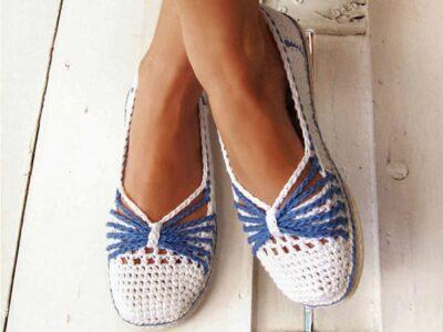 crochet Blue Bow Slippers free pattern