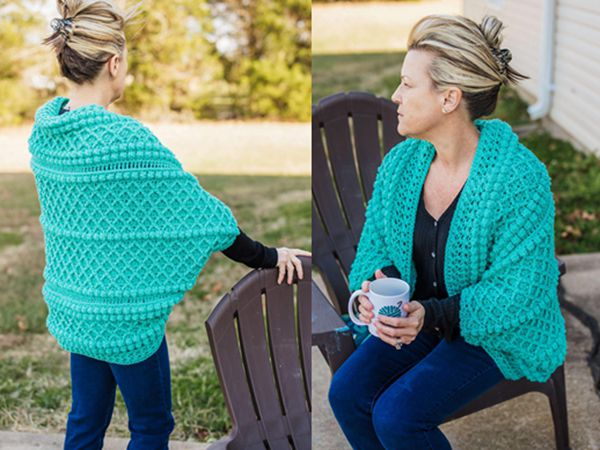 crochet Boho Cocoon Shrug easy pattern