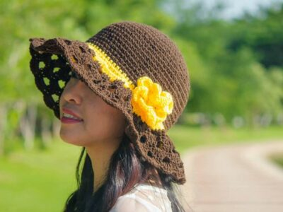 crochet Cappuccino Frappe Sun Hat free pattern