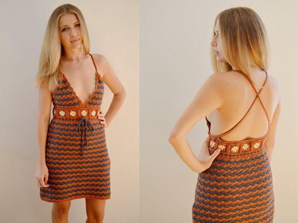 crochet Criss-Cross Floral Dress easy pattern