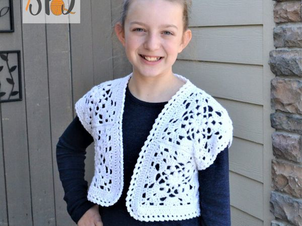 crochet Cropped Motif Cardigan free pattern