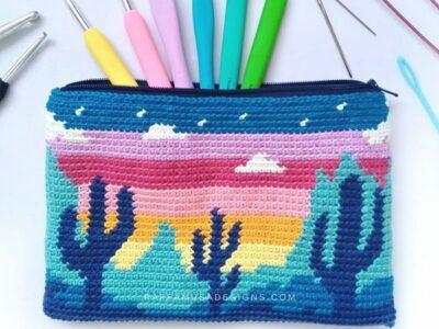 crochet Desert Cacti Pouch free pattern