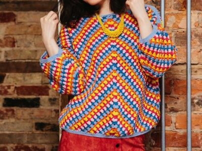 crochet Granny Stripe Rainbow Jumper easy pattern