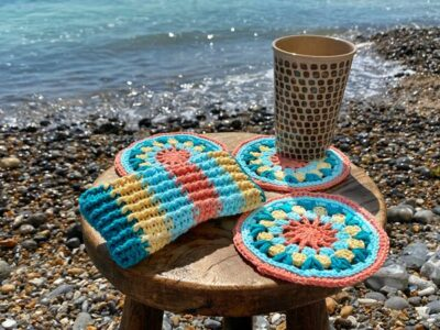crochet Iced Coffee on the Beach Coaster free pattern