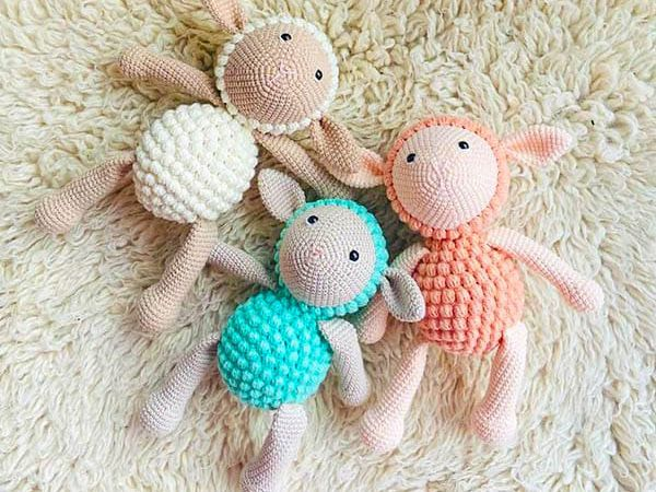 crochet Popcorn Lamb free pattern