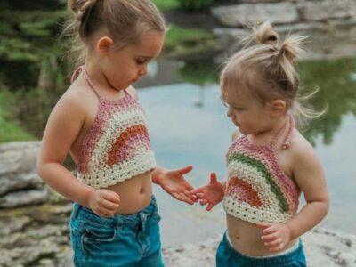 crochet Rainbow Kids Crop Top free pattern