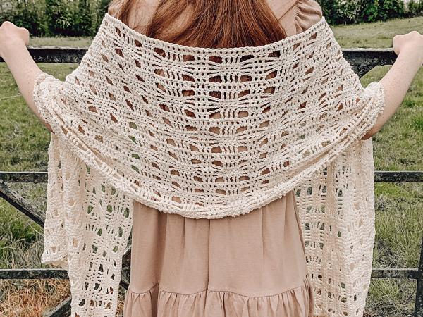 crochet Summer Rectangle Shawl free pattern
