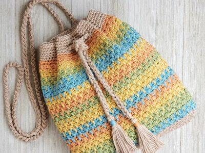 crochet Summer Slice Drawstring Bag free pattern