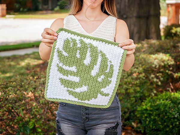 Monstera Crochet Square free pattern