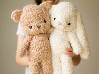 crochet Fleece Teddy & Bunny free pattern