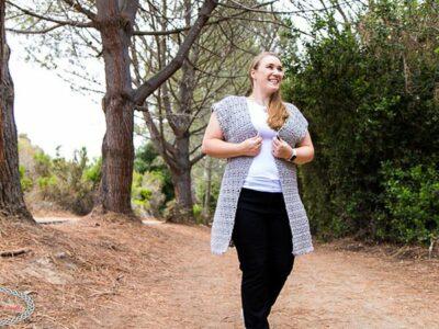 crochet Long Shell Vest free pattern